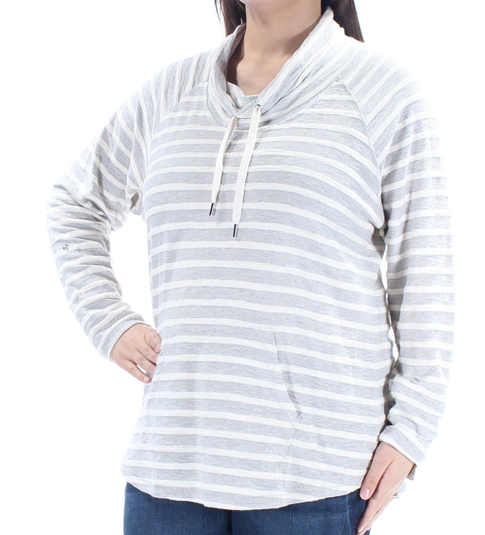 Style & Co. Womens Plus Striped Cowl Neck Sweatshirt Gray 1X