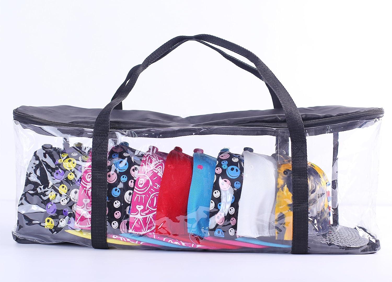 Imperius Clear Hat Organizer,Cap Storage Bag Moistureproof with Zipper and Handles Dustproof,Blcak Quantity 2
