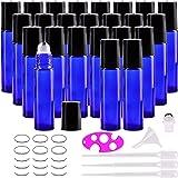 Glass Roller Bottles, 24 Packs 10 ml Cobalt Blue Essential Oil Roll On Ball Bottles with Big Stainless Steel Roller…