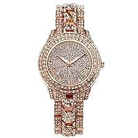 Watches, Luxury Elegangt Women's Watch with Rhinestone Glitter Dial Women's Watch Metal Band Ladies Dress Analogue Quartz Watch