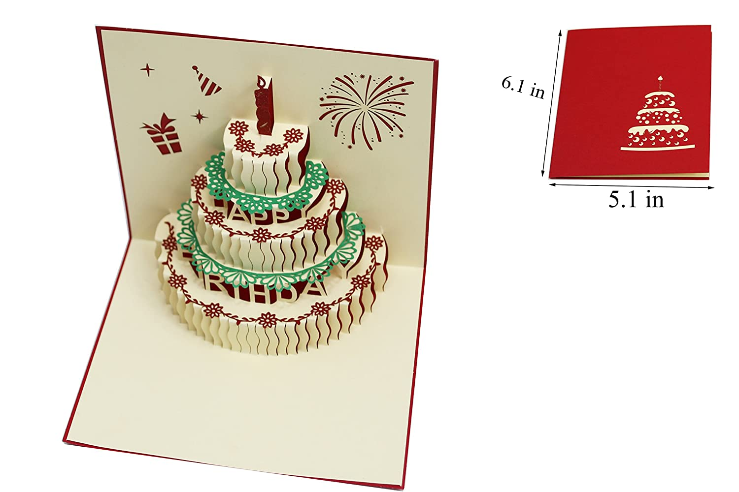 Amazon 3d Pop Up Happy Birthday Cake Greeting Cards Mothers