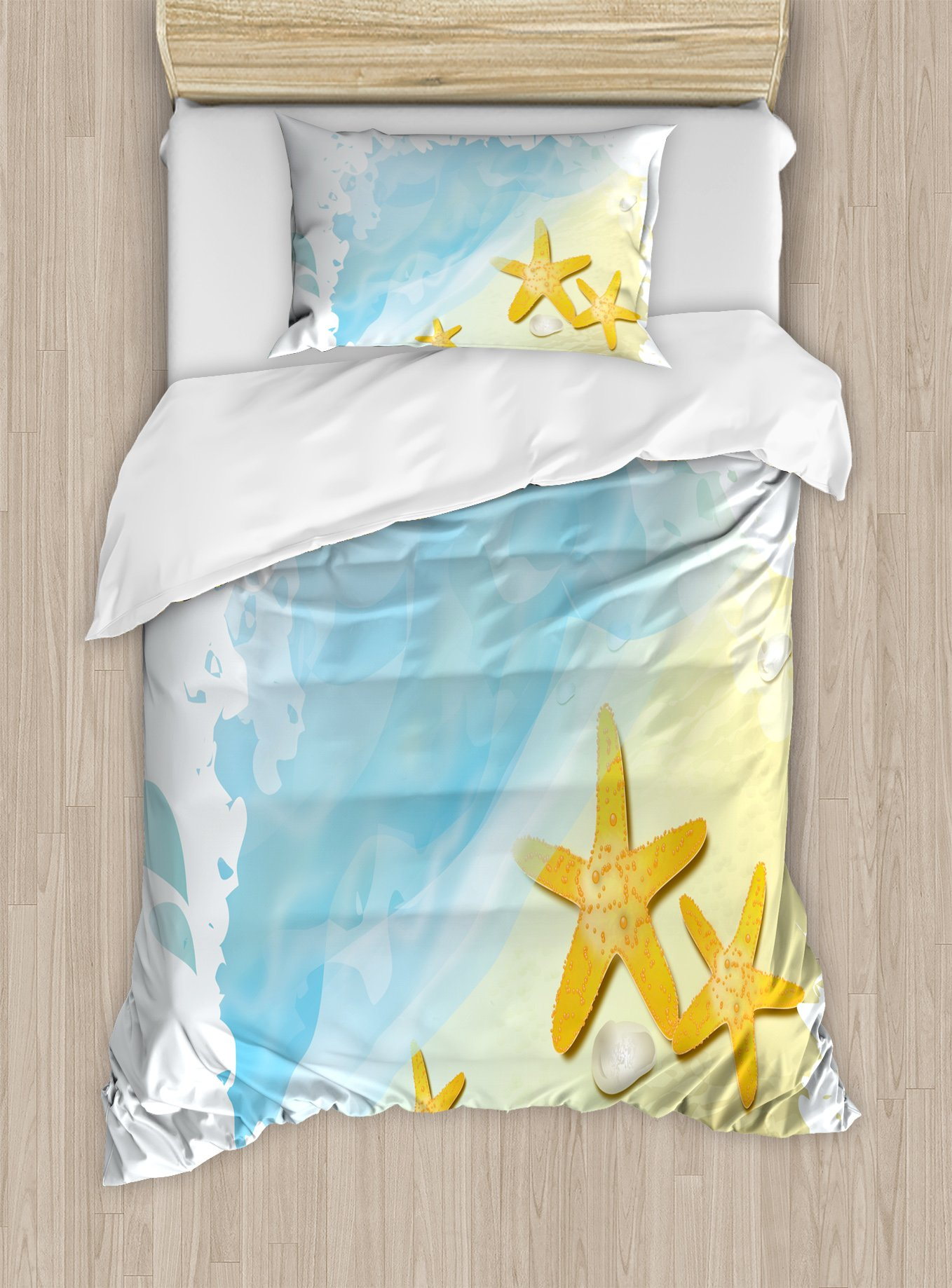 Ambesonne Starfish Duvet Cover Set Twin Size, Artistic Beach Sand and Small Rocks Aquatic Life Animals Exotic Vacation Theme, Decorative 2 Piece Bedding Set with 1 Pillow Sham, Multicolor
