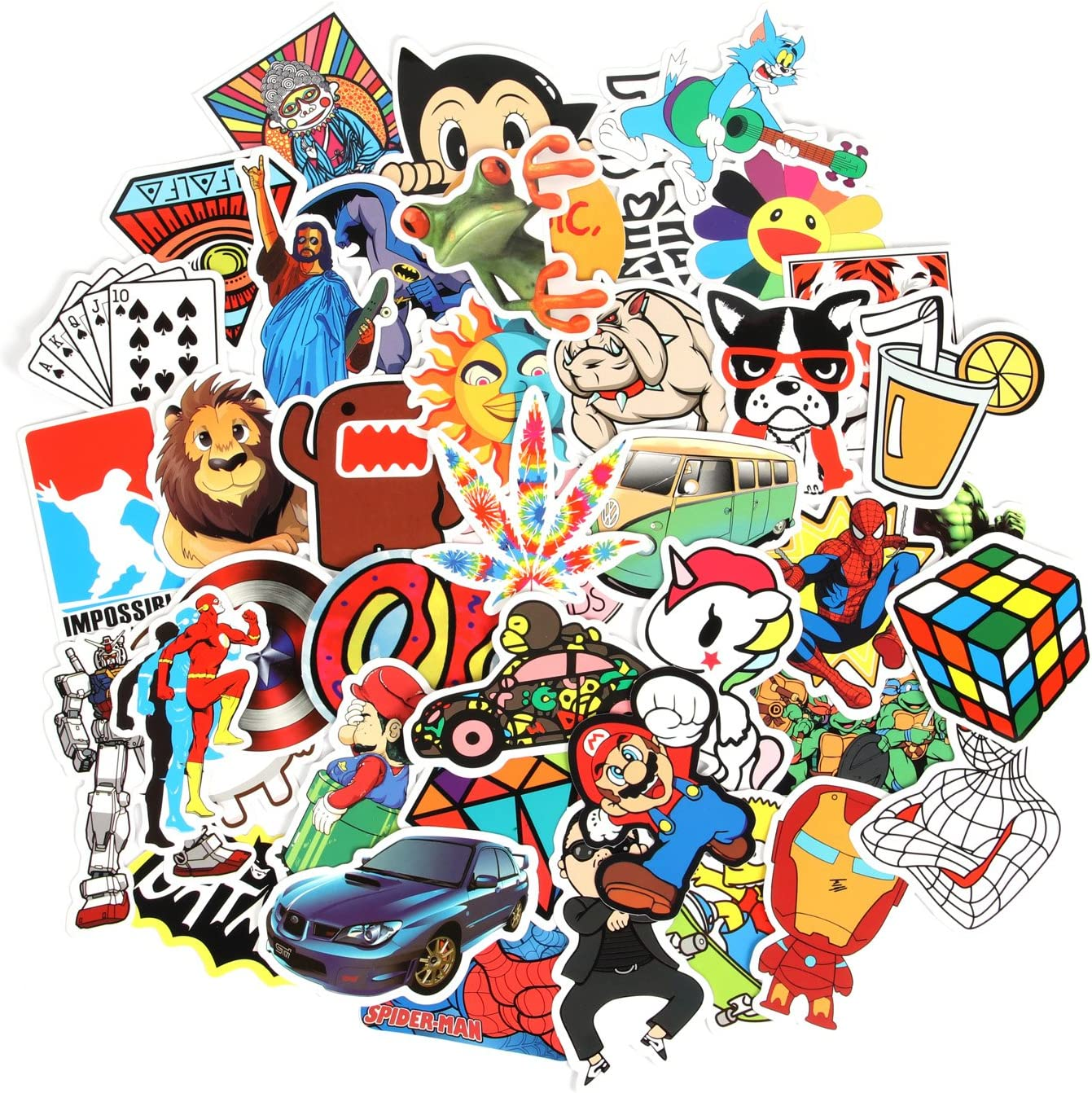 Fngeen Random Sticker 50-500pcs Variety Vinyl Car Sticker Motorcycle Bicycle Luggage Decal Graffiti Patches Bike Skateboard Stickers for Laptop Stickers (150pcs)