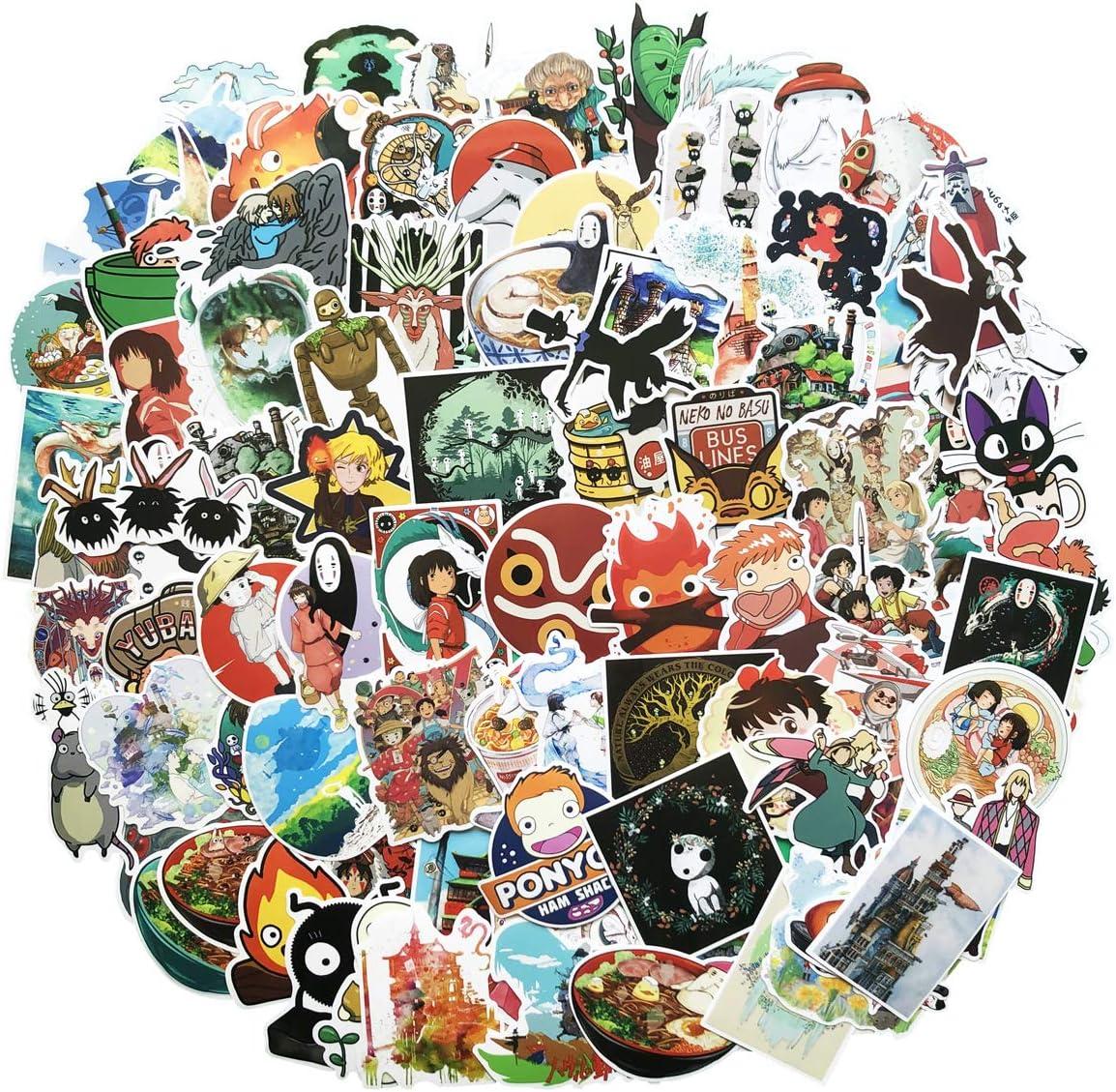 ZUIYIJIANGNAN 100Pack Miyazaki Hayao Animation Film Theme Stickers Set Random Sticker Decals for Water Bottle Laptop Cellphone Bicycle Motorcycle Car Bumper Luggage Travel Case. Etc