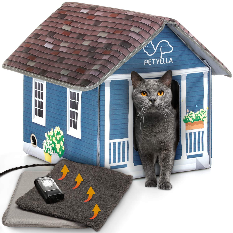 Petyella Heated Cat Houses For Outdoor Cats In Winter Heated Outdoor Cat House Weatherproof Outdoor Heated Cat House Easy To Assemble Buy Online In Grenada At Grenada Desertcart Com Productid 163865926