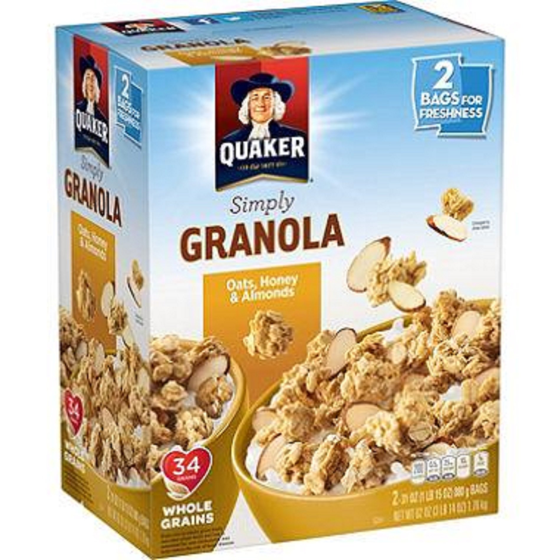 Quaker Simply Granola Oats, Honey and Almonds, 62 Ounce