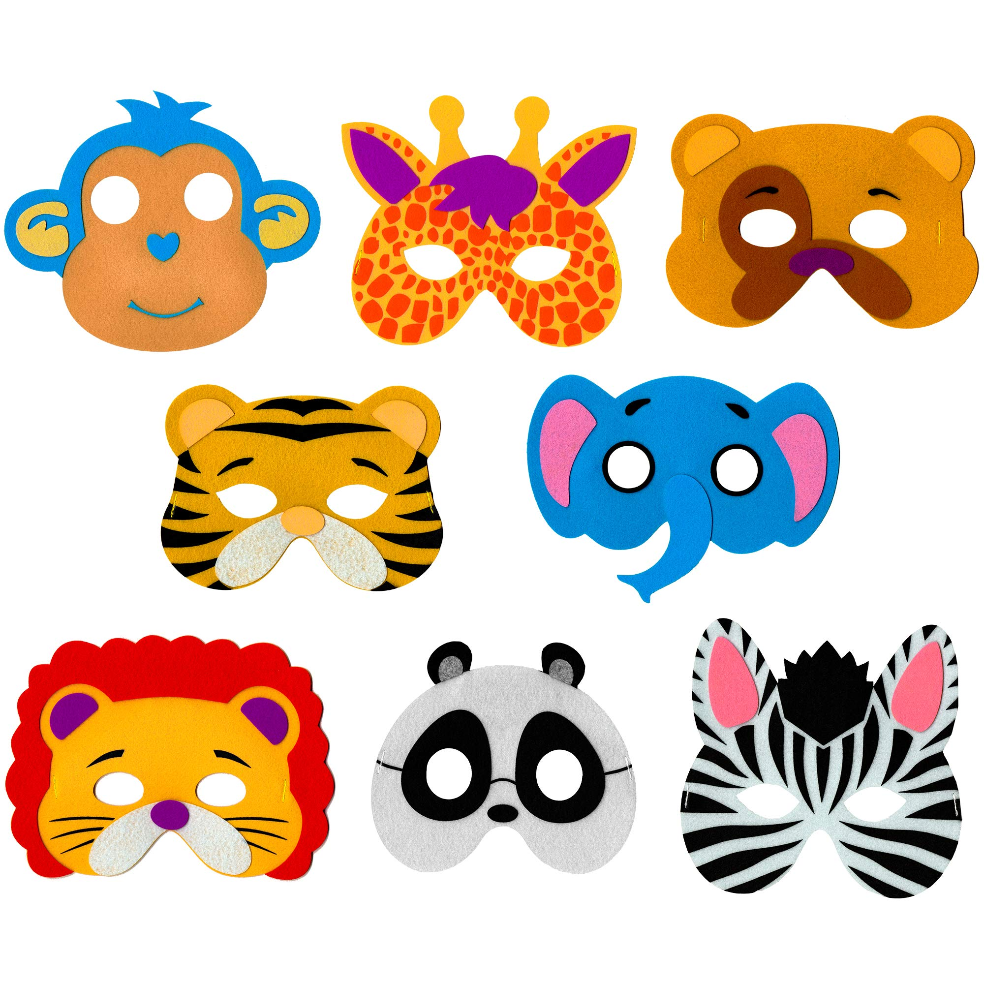 Zoo Animal Masks for Kids - 8 Assorted Felt Toy Masks, Best Birthday Party Supplies Favors for Goodie Bags, Gifts, etc