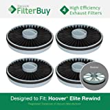 4 - Hoover Elite Rewind Exhaust Filters, Part # 59157014. Designed by FilterBuy to