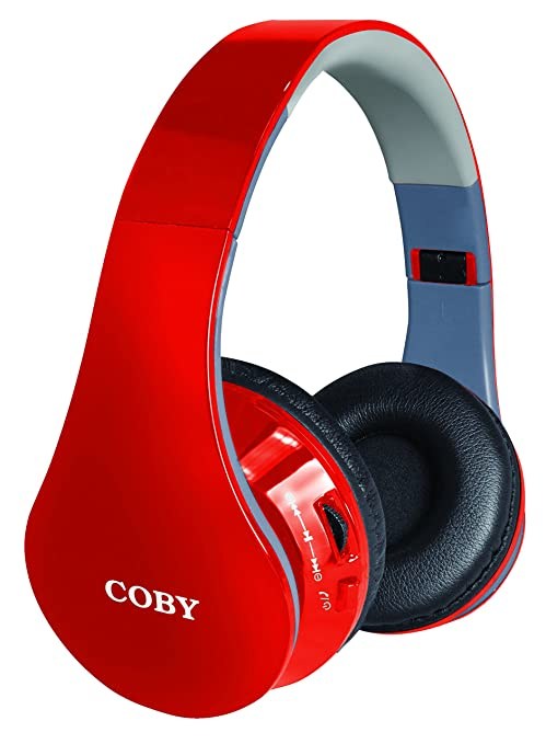 Coby CHBT-701-Red Contour Bluetooth Stereo Headphones, Red