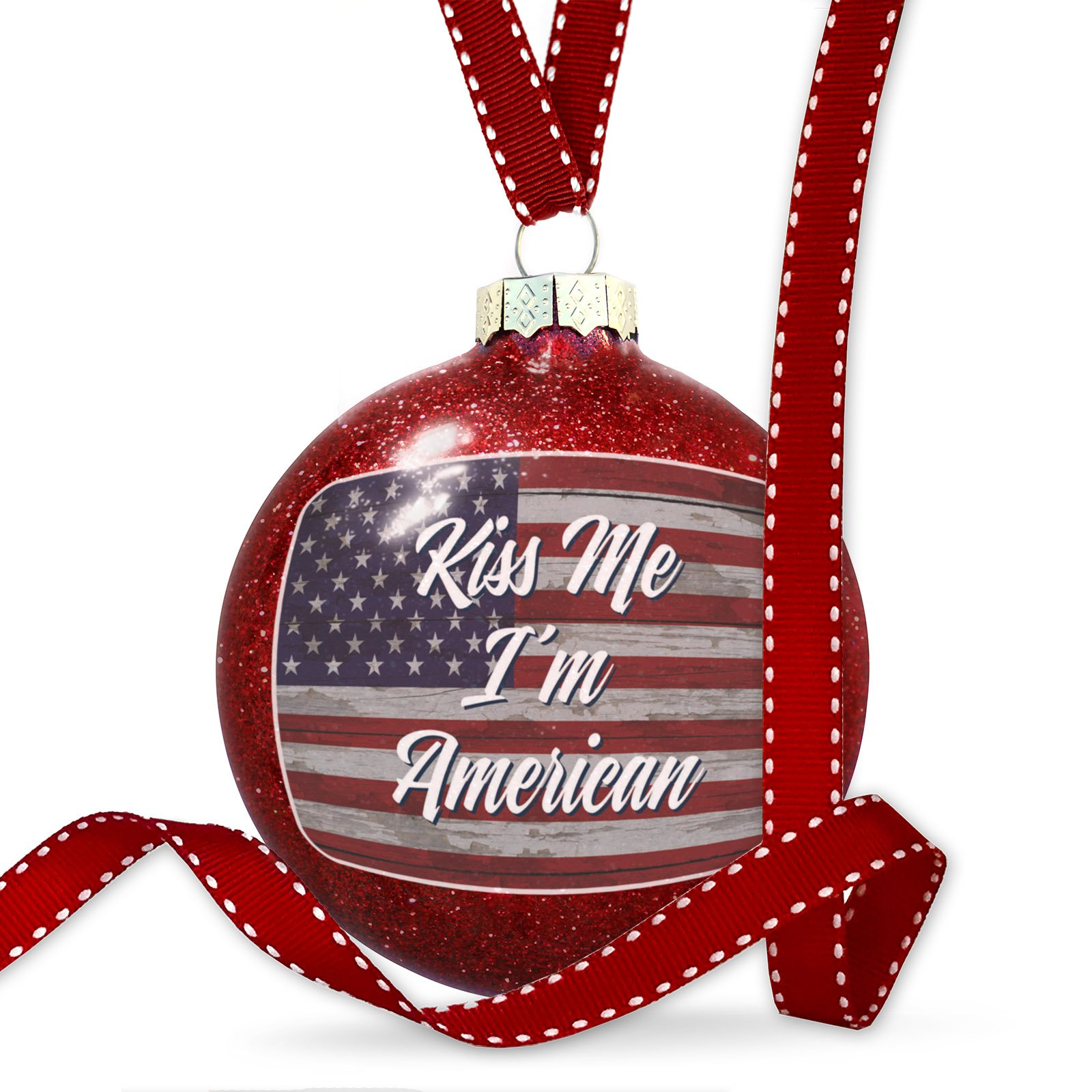 Christmas Decoration Kiss Me I'm American Fourth of July Vintage Wood Flag Script Ornament