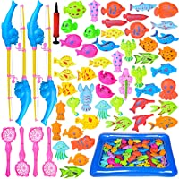 FUN LITTLE TOYS 60 PCs Magnetic Fishing Toys with 22.8 in Fishing Pool, 4 Fishing...