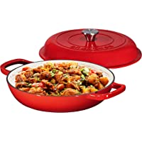 Enameled Cast Iron Casserole Braiser - Pan with Cover, 3.8-Quart, Gradient Red
