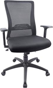 High-Back Ergonomic Office Chair Mesh Computer Desk Chair with Adjustable Arms, Seat Height and Lumbar Support (Black)