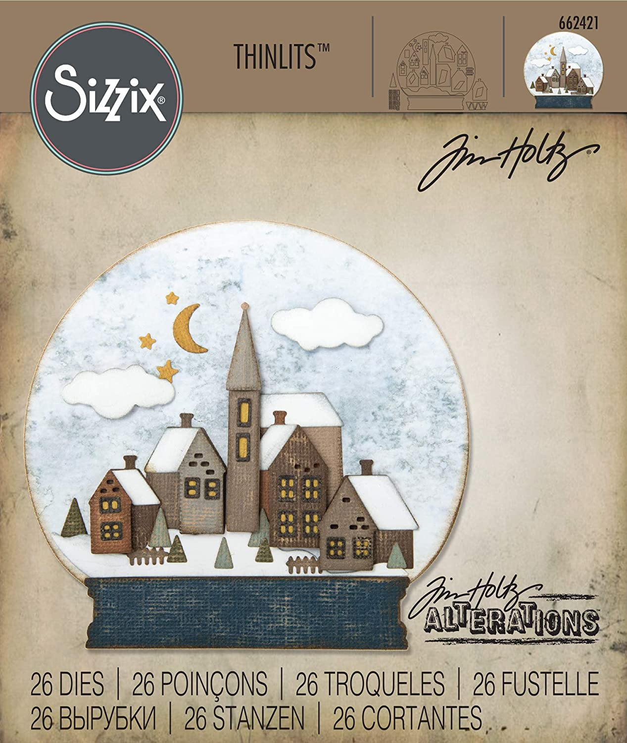 6-Pack Multicolor Sizzix 663153 Thinlits Die Set Christmas Ornament Flip and Fold by Katelyn Lizardi