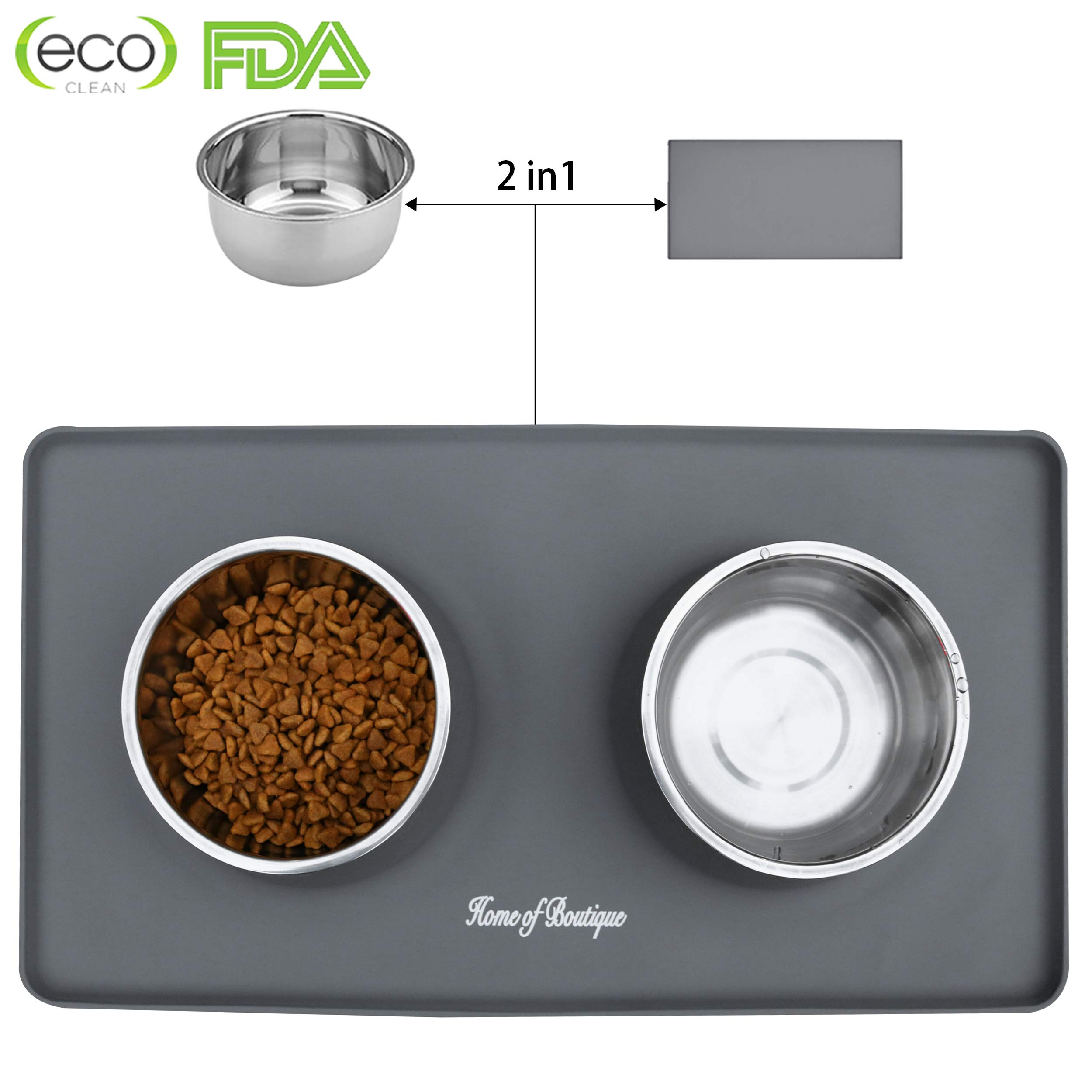 Home of Boutique Dog Bowls, Stainless Steel Pet Food Bowl, Cat Water Bowls with No-Spill Anti-Slip Silicone Mat for Large or Medium Dogs or Cats, Set of 2 Bowls (L, Gray)