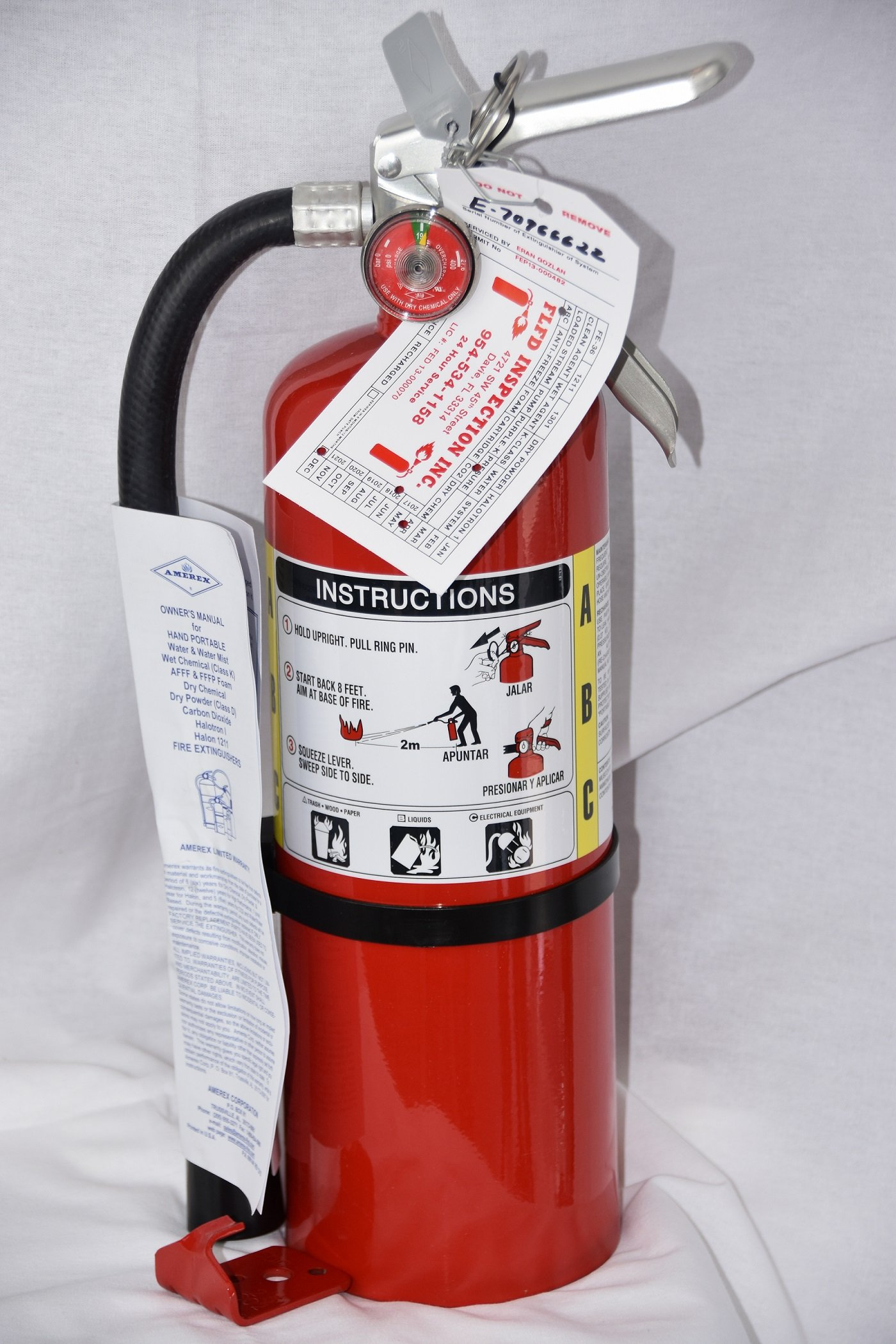 (Lot of 1) 5 Lb. Type ABC Dry Chemical Fire Extinguishers, with 1 - Wall Bracket and 1 - Certification Tag - Ready for Fire Inspections - 3A - 40 BC Rating by Amerex