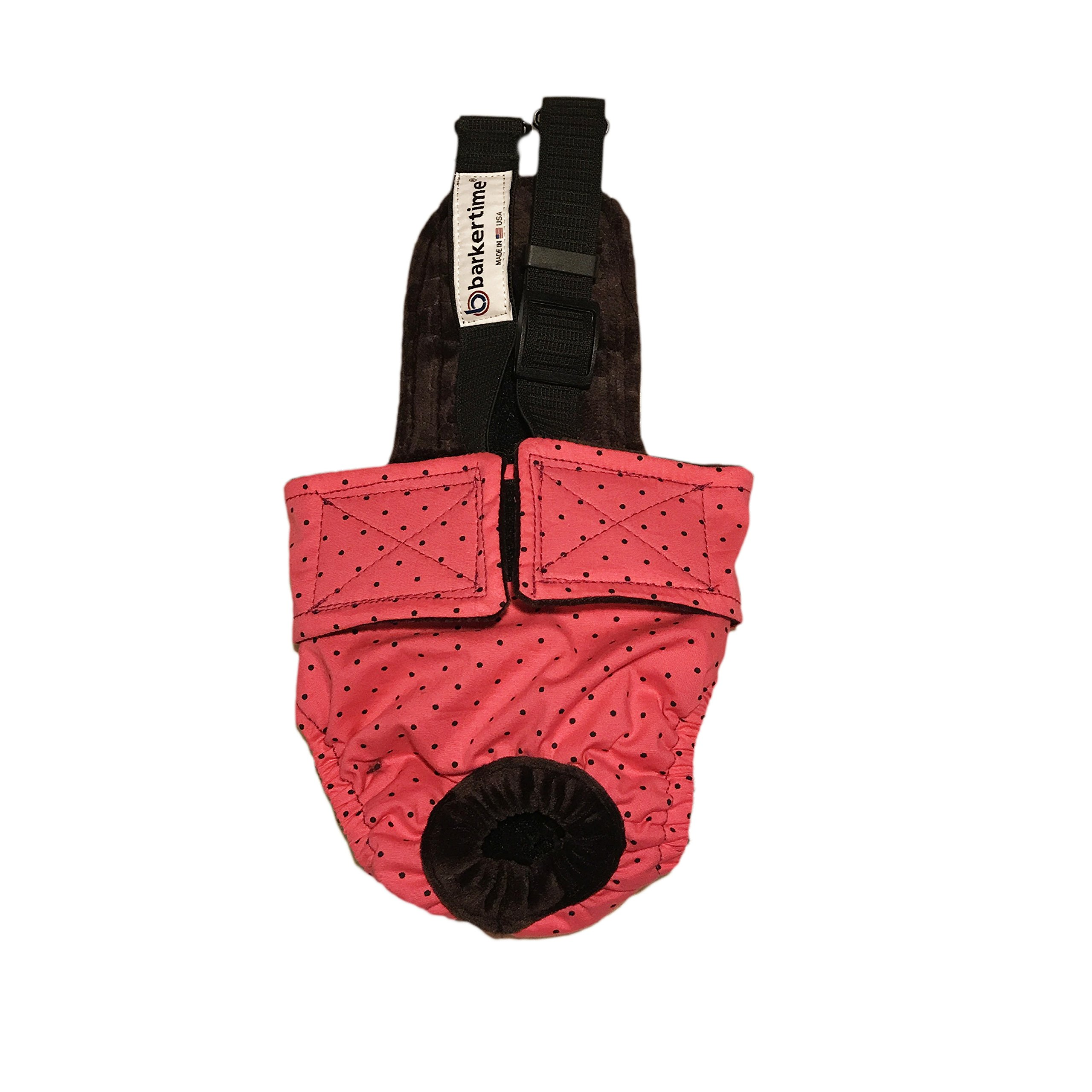 Dog Diaper Overall - Made in USA - Black Polka Dot on Pink Escape-Proof Washable Dog Diaper Overall, L, Without Tail Hole for Dog Incontinence, Marking, Housetraining and Females in Heat