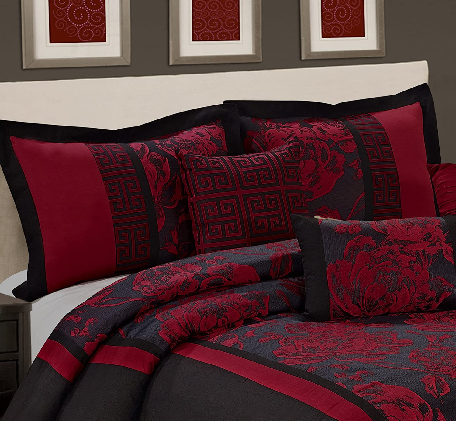 7 Piece Peony Jacquard Fabric Patchwork Comforter Set Queen King CalKing Size (King, Burgundy