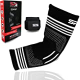 SPS Elbow Sleeve Compression Support for Tendonitis + Adjustable Wrist Supports for Workouts Weightlifting Tennis Brace and Golfer's Elbow Tendonitis Sleeves Support, Unisex by Szuch Pro Sports