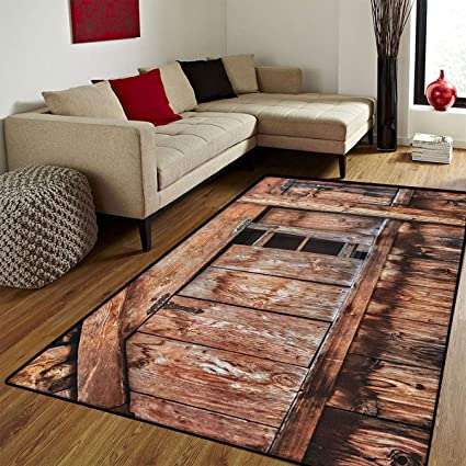 Rustic,Door Mats For Inside,Abandoned Damaged Oak Barn Door With Iron  Hinges And