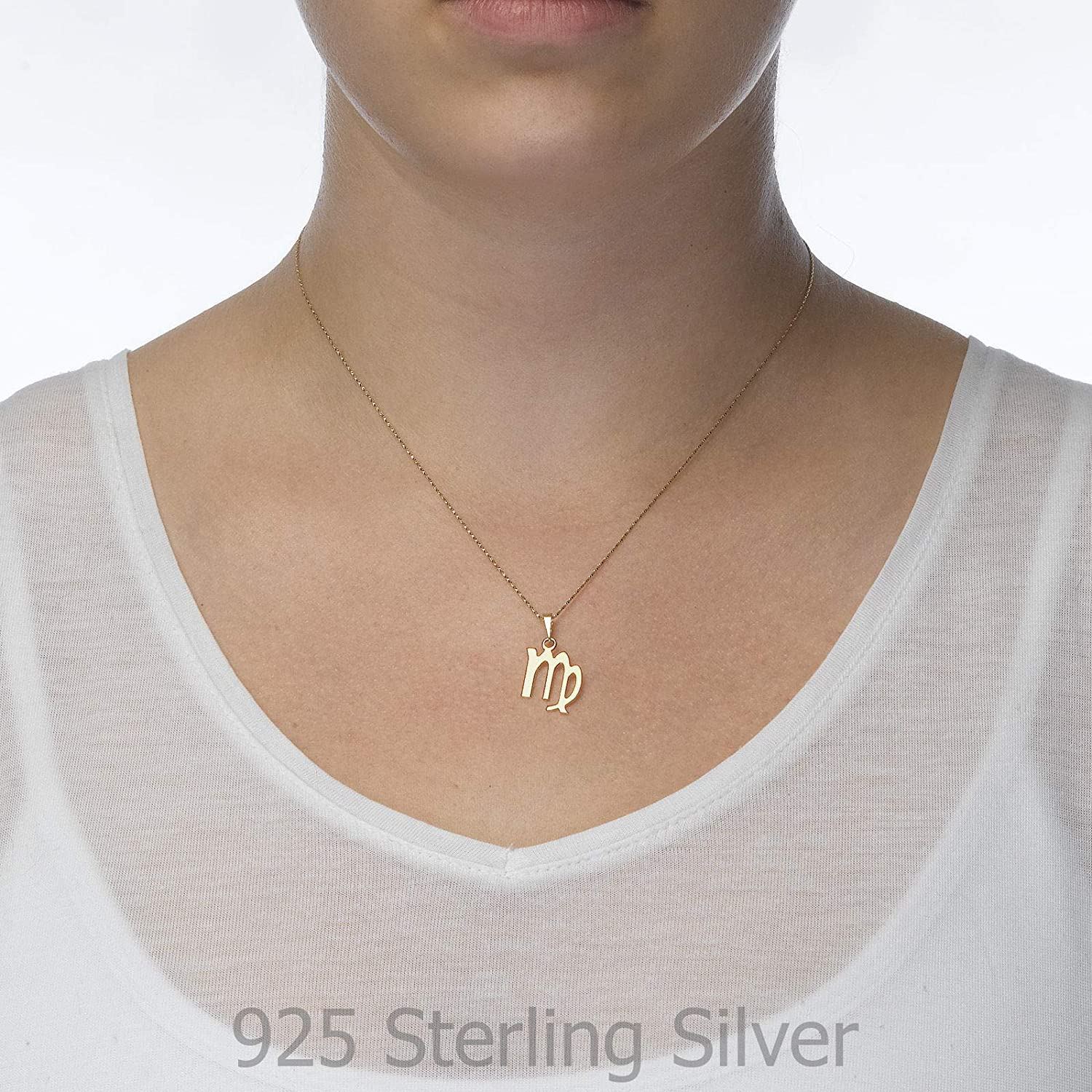 14K Yellow Gold Virgo Pendant With Necklace
