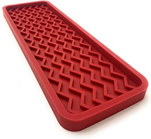Silicone Kitchen Sink Organizer Tray and Sponge Holder, 12 inches x 4 inches, 9.2 ounces (RED)