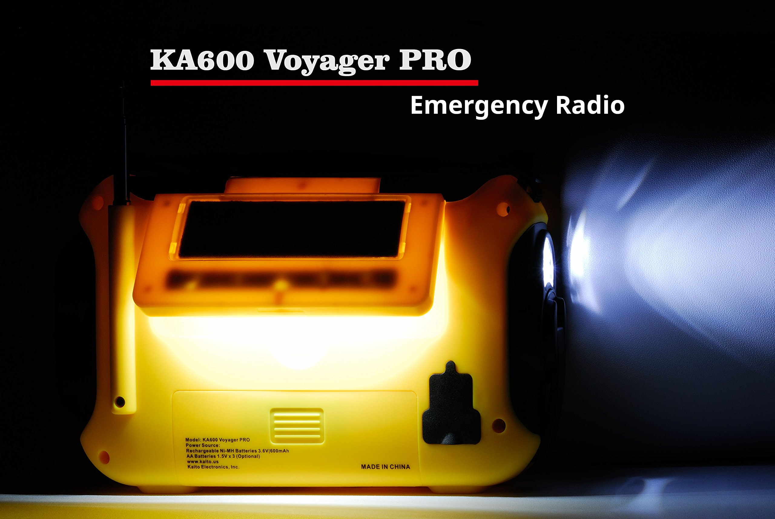 Kaito Voyager Pro KA600 Digital Solar Dynamo Crank Wind Up AM/FM/LW/SW & NOAA Weather Emergency Radio with Alert, RDS & Smart Phone Charger, Yellow (AC Wall Adapter Included) by Kaito (Image #6)