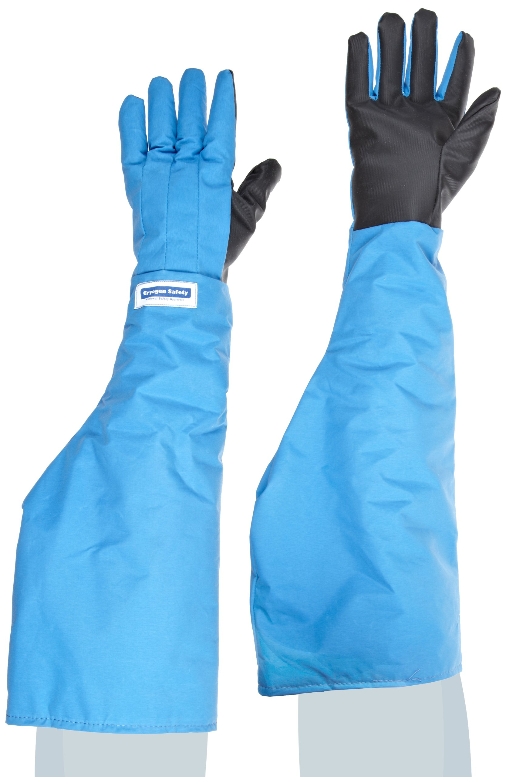 National Safety Apparel G99CRSGPMDSH Nylon Taslan and PTFE Shoulder Waterproof Safety Glove with SaferGrip Palm, Cryogenic, 26'' - 27'' Length, Medium, Blue