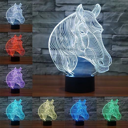 3D LED Lampe d'illusion Optique, LSMY Veilleuse Lampe Tête de Cheval Lumière pour Enfant