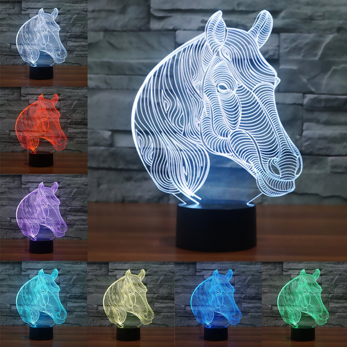 3D LED Optical Illusion Lamps Night Light, LSMY 7 Colors Touch Art Sculpture Lights with USB Cables Bedroom Desk Table Decoration Lamp for Kids Adults, mtb Motocross Bike