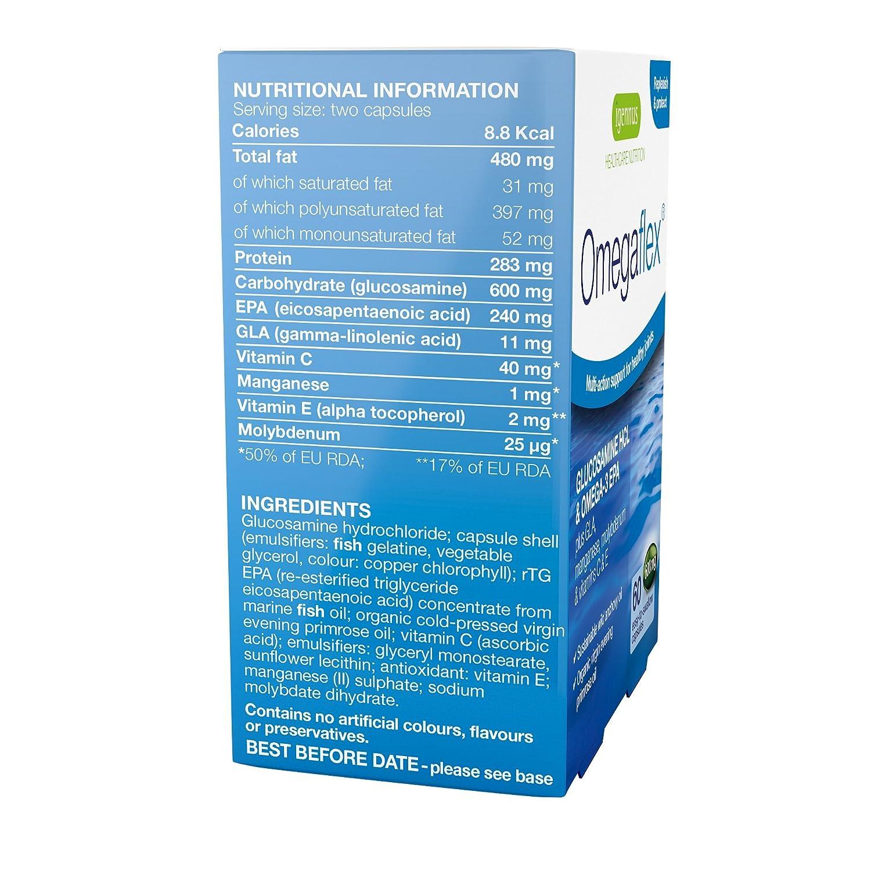 Glucosamina Omegaflex biodisponible, aceite de pescado salvaje y aceite de onagra orgánico más manganeso, vitamina C y vitamina E, apoyo intensivo para la ...