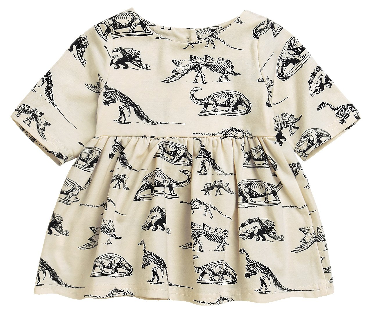 Mini honey Infant Baby Girls Summer Playwear Sun Dresses One-Piece Dress With Dinosaurs Print (3-6 Months, Beige)