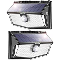 LITOM Solar Motion Sensor Light, 160 LED 3 Optional Modes, 270° Wide Angle Illumination, IP67 Waterproof, Solar Wall…