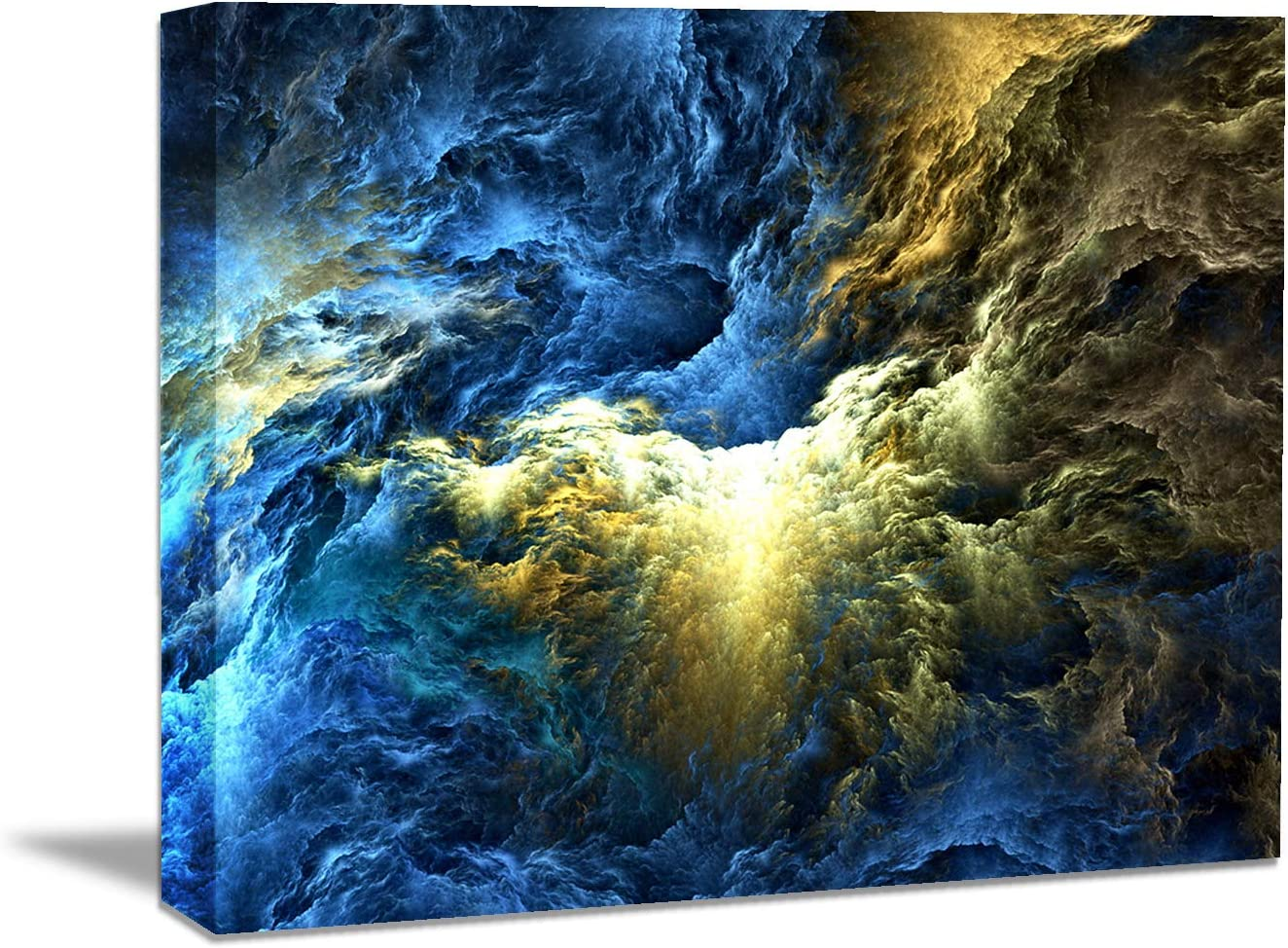 Looife Blue and Yellow Abstract Clound Patten Canvas Wall Art, 30x20 Inch Colorful Textured Picture Prints Wall Decor, Stretched on Wood Frame and Ready to Hang
