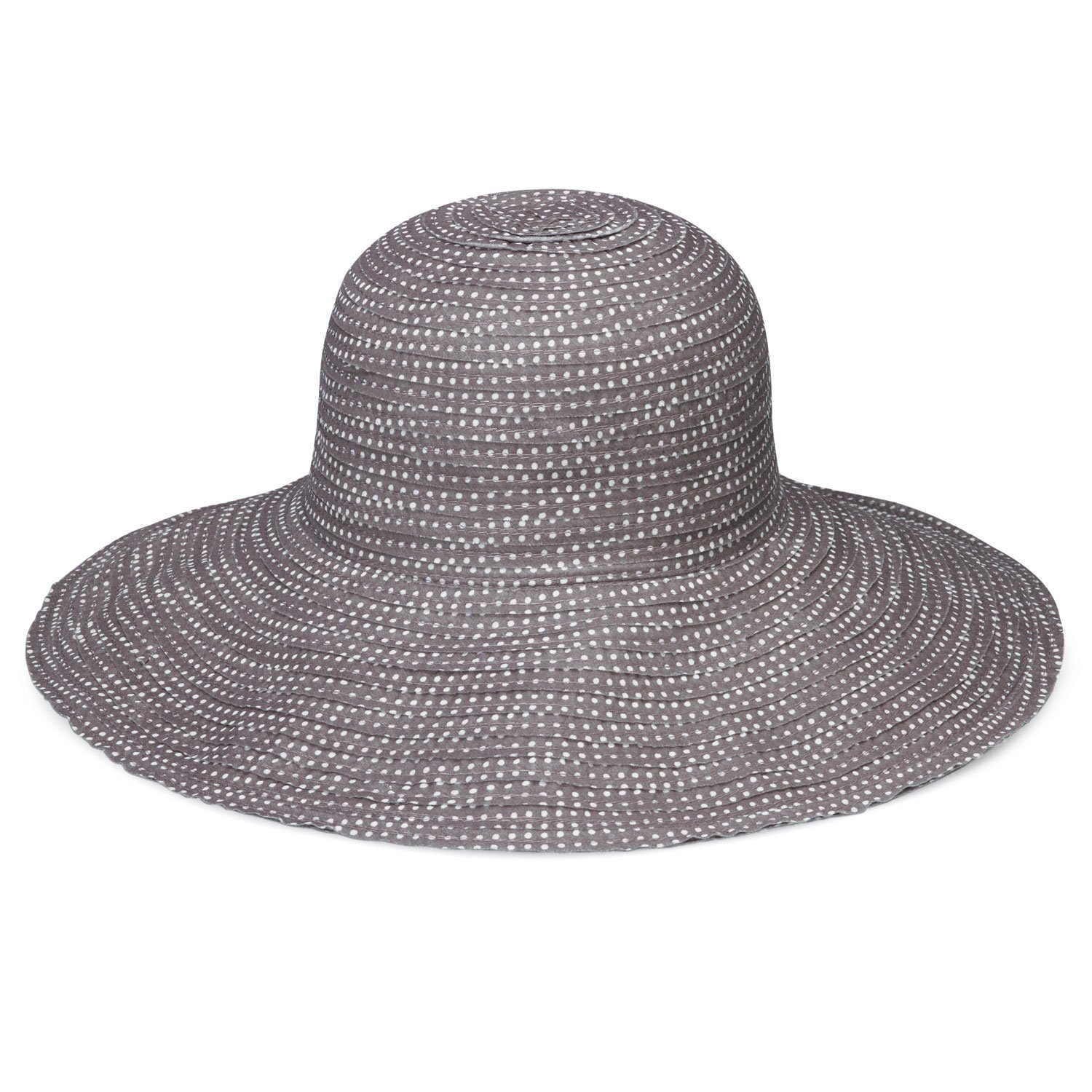 Wallaroo Hat Company Women's Petite Scrunchie Sun Hat – Grey/White Dots – UPF 50+