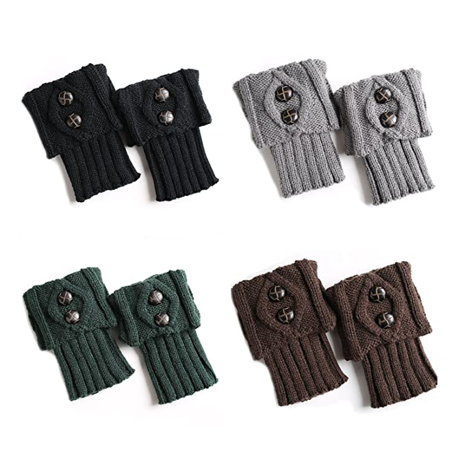 UClever Mujeres Calcetin Calentadores de pierna Cubierta de bota tejida de  ganchillo de invierno de gris
