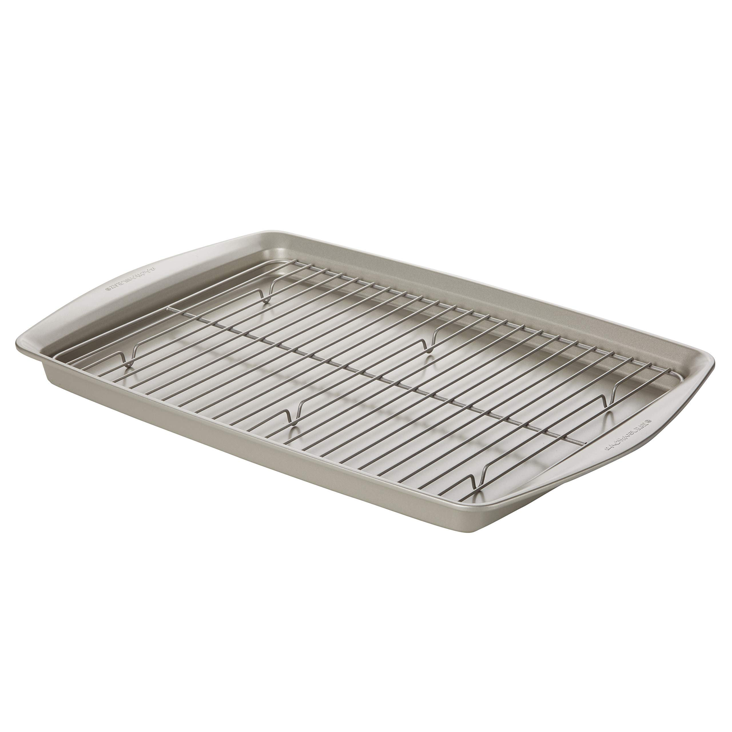 Rachael Ray Nonstick Bakeware Jumbo Cookie Pan with Roasting Rack, 13-Inch x 19-Inch, Silver