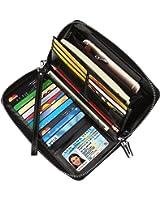 Dante Women's RFID Blocking Wax Real Leather Zip Around Wallet Clutch Large Travel Purse