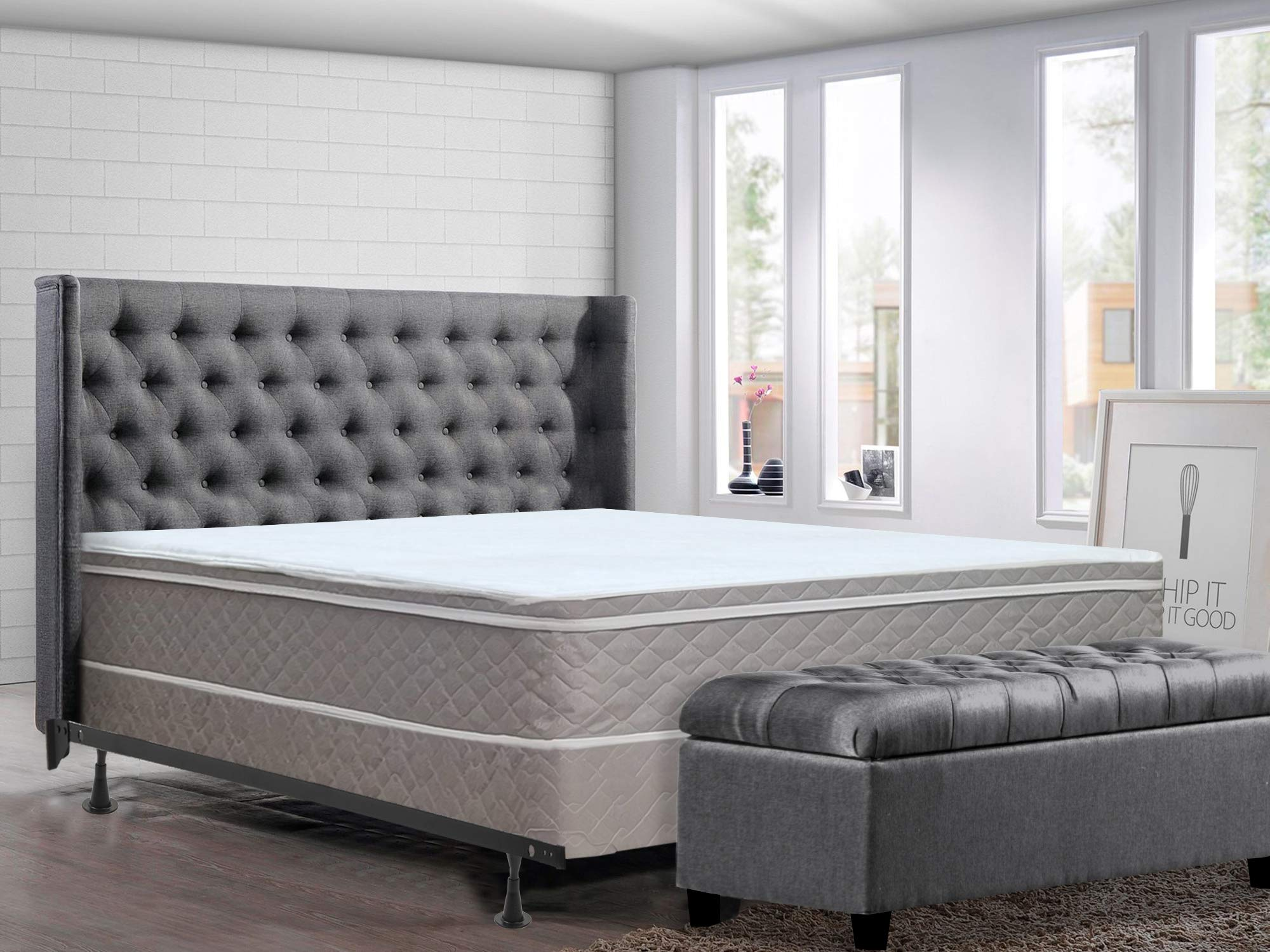 Greaton, 10-inch Medium Plush Innerspring Eurotop Mattress and Box Spring/Foundation Set with Frame, No Assembly Required, King