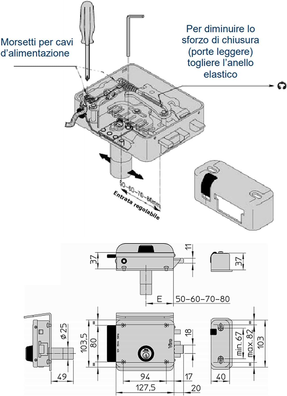 Schloss elektrische 8997.0794/mit Riegel block-out Eingang verstellbar f/ür T/üren T/üren und Tore Viro/ /rechts