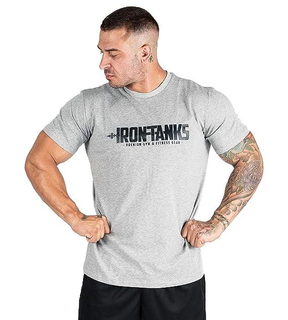 5c5a165c0463d2 Amazon.com  Iron Tanks Icon Gym Tee Grey Marle - Mens Bodybuilding Workout  T Shirt Top Shirt  Clothing