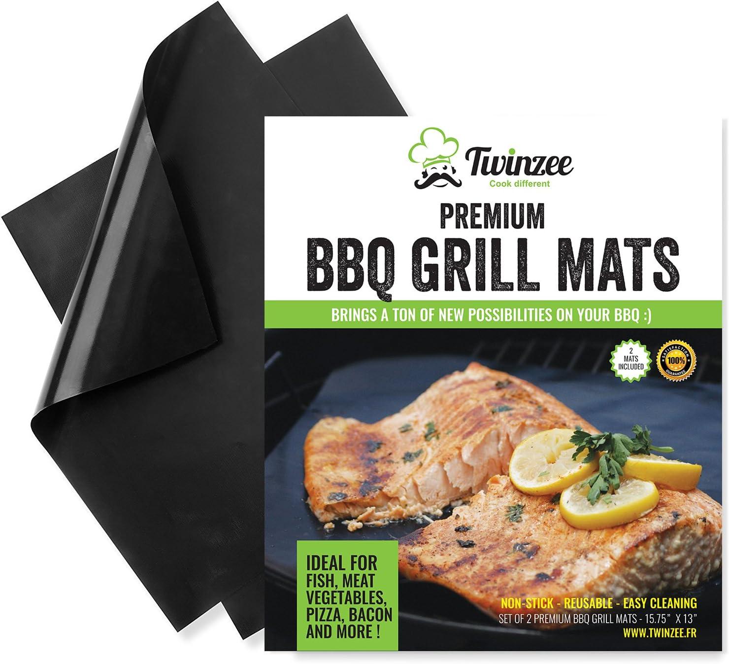 grillas® Set de 2 Tapis cuisson pour barbecue en siliconeRevêtement...