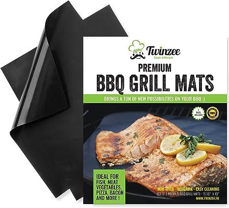 Exstud BBQ Grill Mats Set of 5 Non Stick Oven Liner Teflon