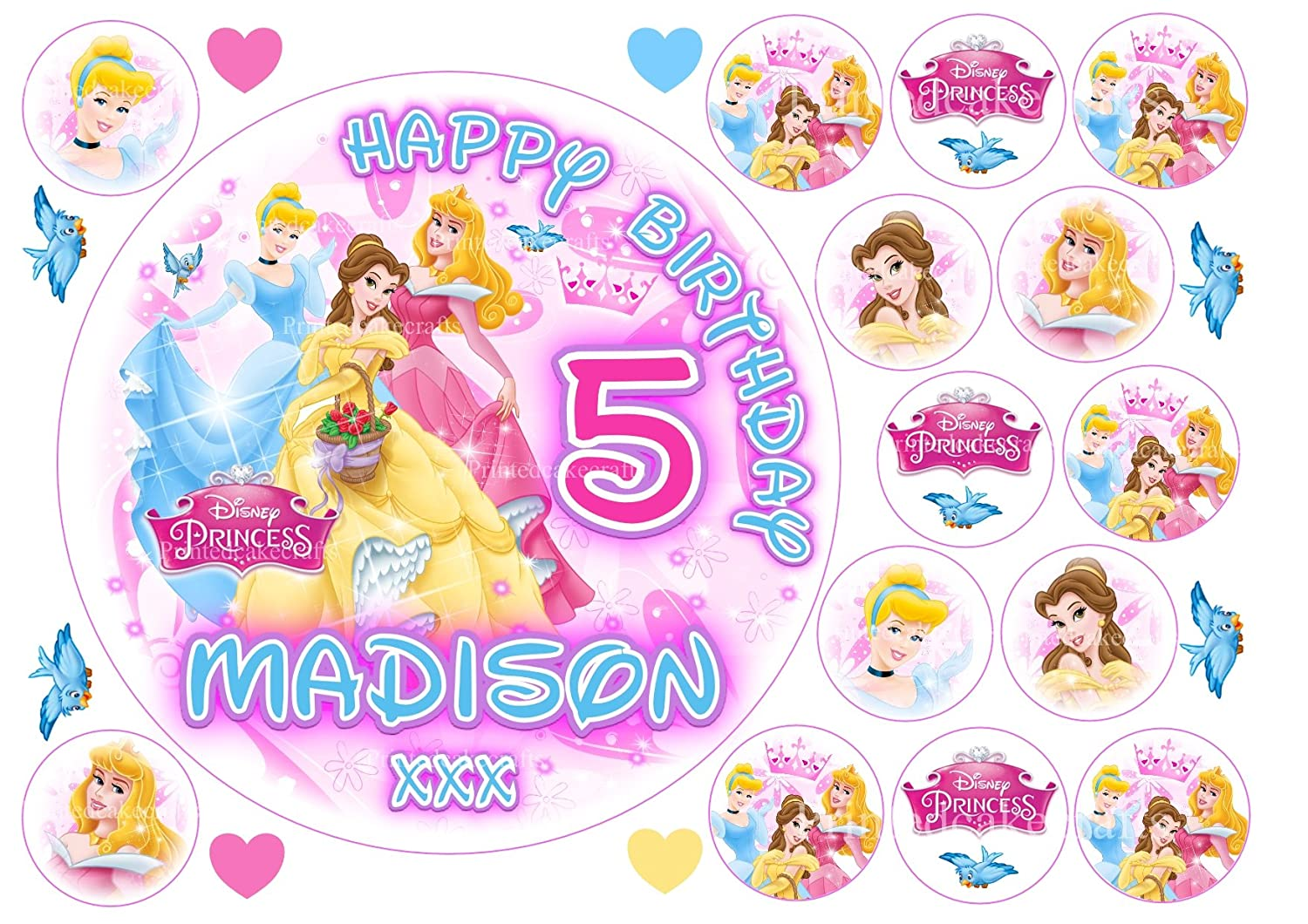 SNOW WHITE EDIBLE WAFER /& ICING PERSONALISED CAKE TOPPER BIRTHDAY PARTY PRINCESS