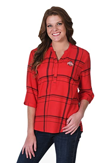 dd8bef96d89 UG Apparel NCAA Ohio State Buckeyes Womens Plaid Tunicplaid Tunic, Red, 1X