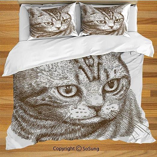 Juego de funda nórdica para cama de gato, Retrato de un gatito ...