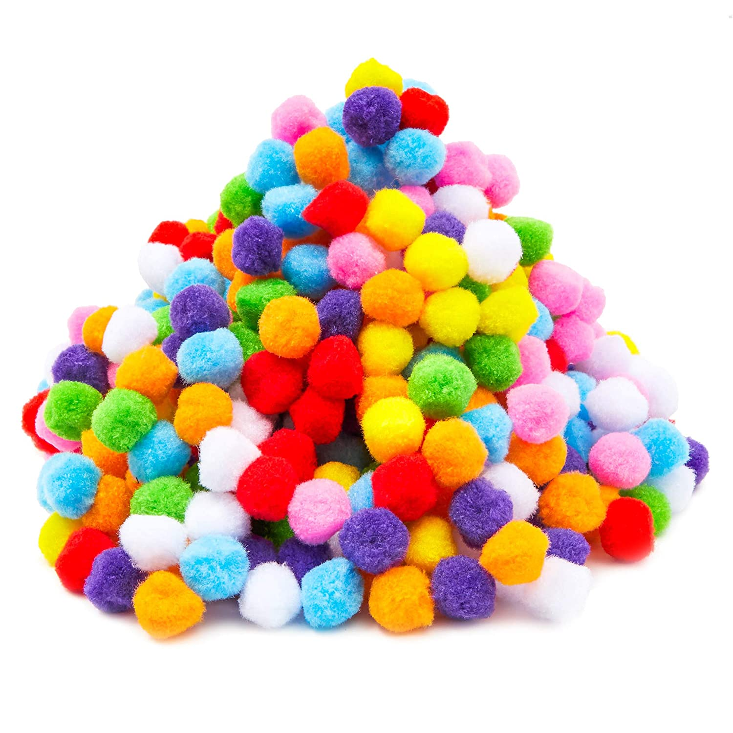 Assorted Colors Kids Art Supplies 0.86 Inches Creative Decorations Pom Poms 500-Count Fluffy Craft Pom Poms for Hobby Supplies DIY Craft Projects
