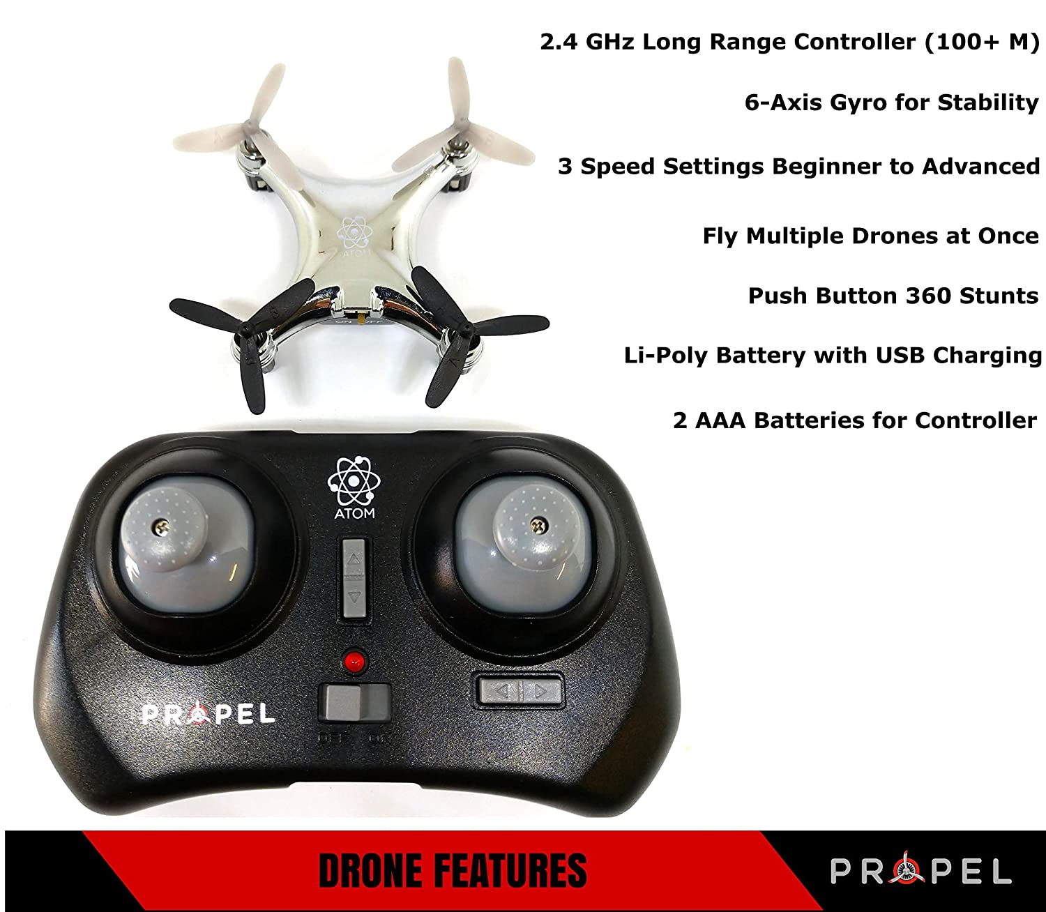 Propel Atom 1.0 Mini Pocket Drone | Small Remote Control RC Micro Quadcopter | Long-Range (100+M) Nano Toy Helicopter| Beginner to Advanced Pilots | ...