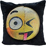 Reversible Sequin Pillow Case, USONG Emoji Changeable Face Cushion Cover Pillow Cases Decorative Pillowcase for Sofa Home Decor DIY (Dull and naughty)