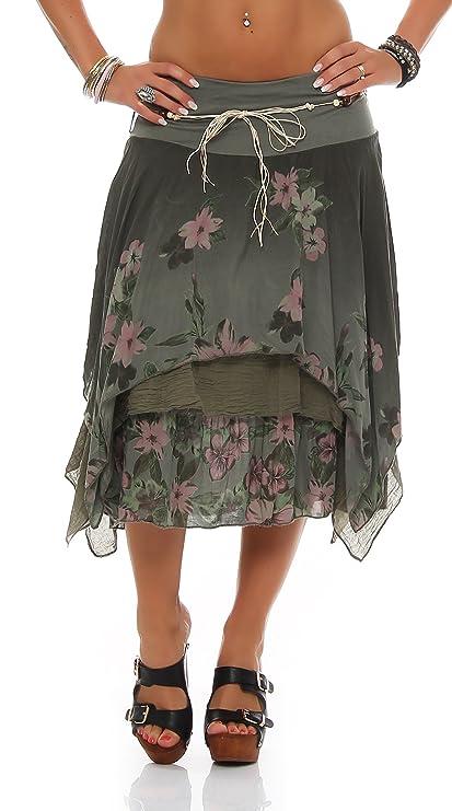 ZARMEXX Mujer Earing roca hasta la rodilla Falda de verano Estilo de capas Estampado de flores Midi falda Talla Única